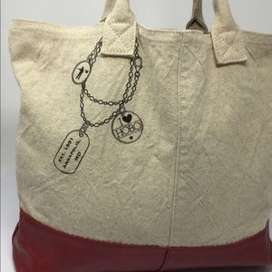 HOBO International Canvas Leather Travel Tote Bag